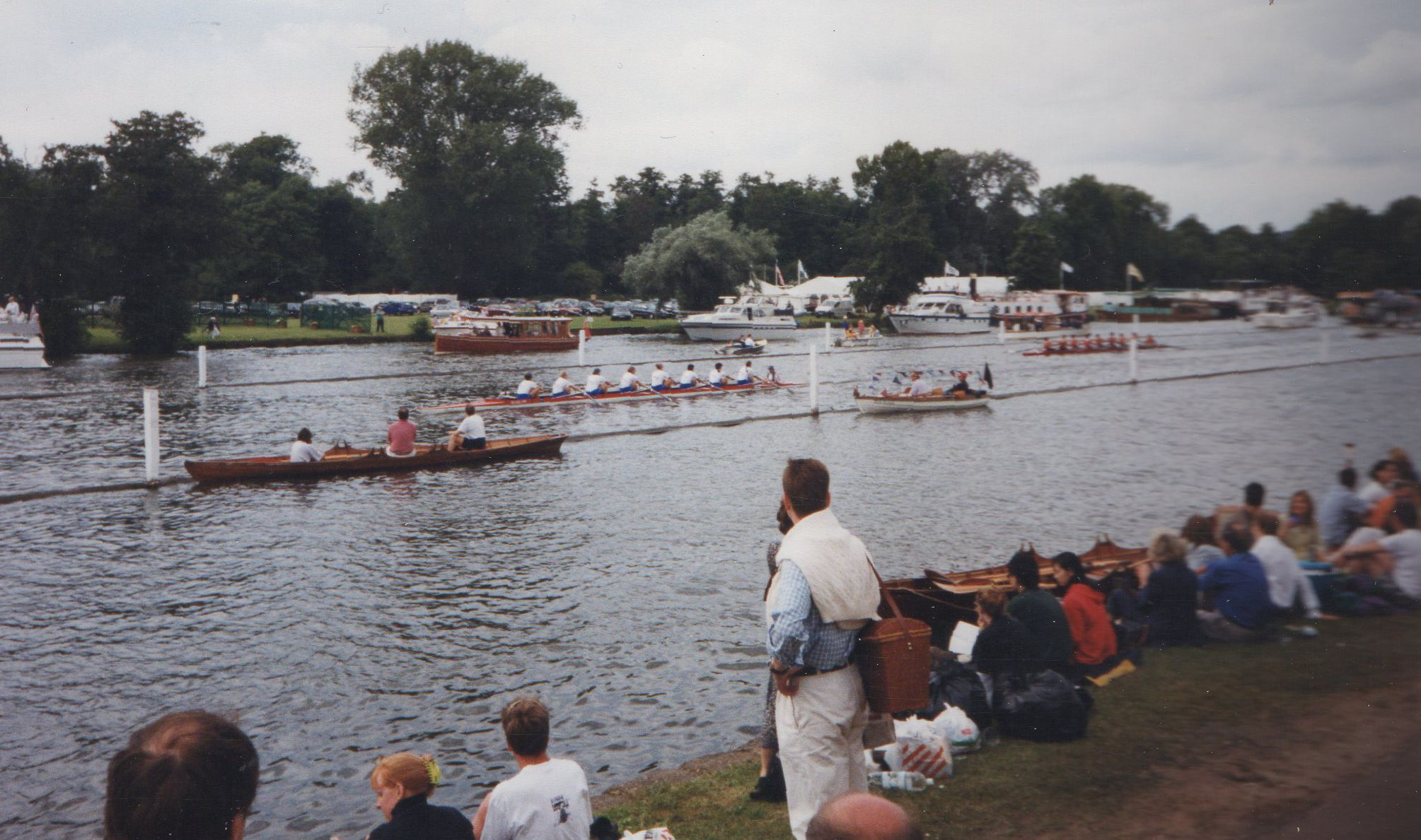 Women's eights racing at Henley with a lot of clear water between them