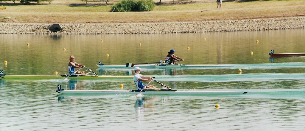 Four women scullers racing