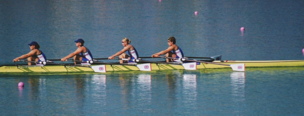 GBR women's quad racing on Penrith Lakes